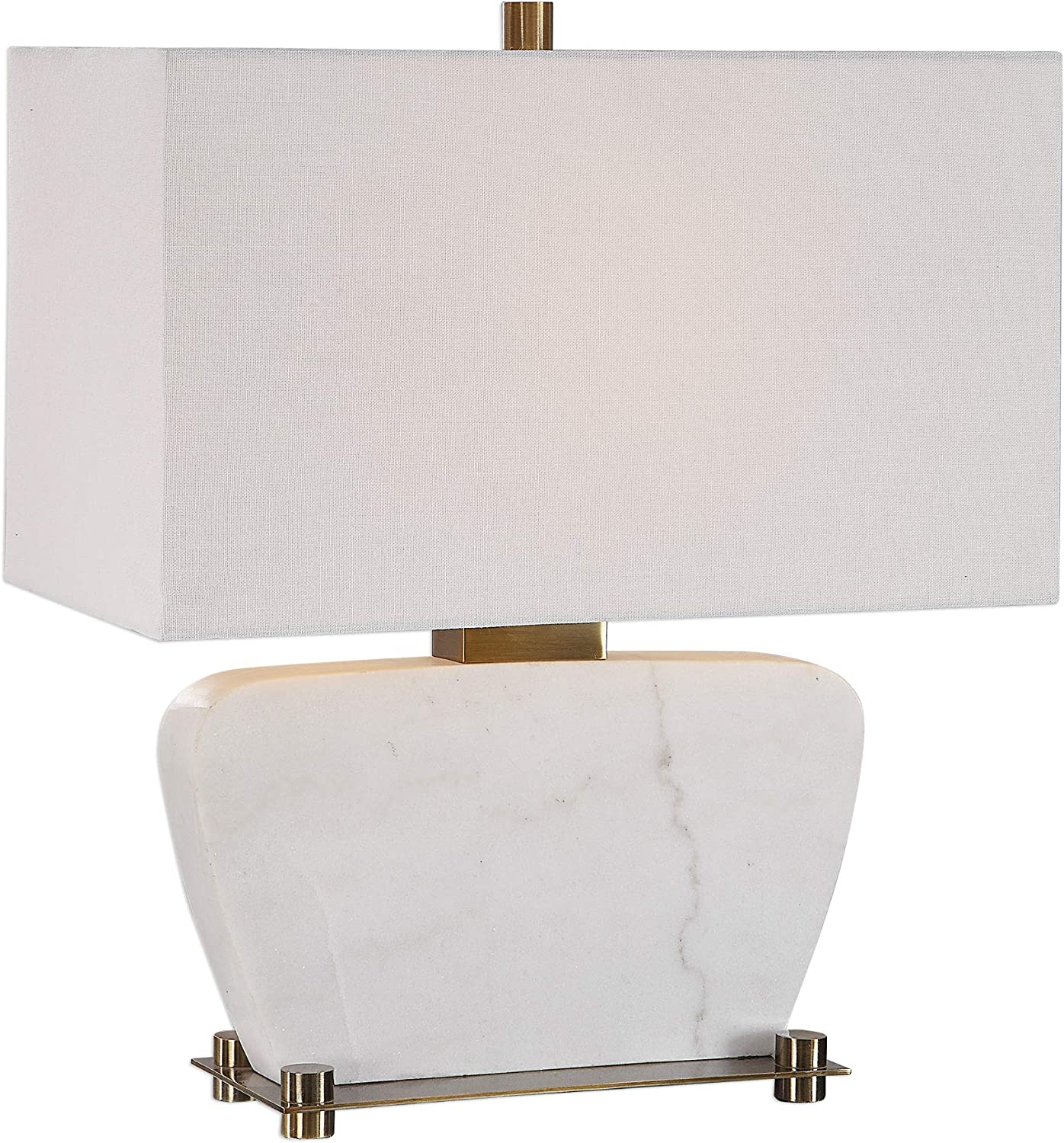 MY SWANKY HOME White Marble Mid Century Modern Table Lamp | Gold Geometric Curved Shape Slab