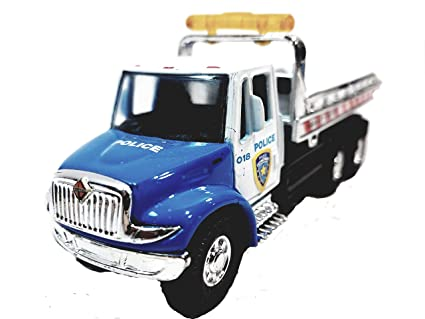 Flatbed Tow Truck >> Showcasts Blue White Police Flatbed Tow Truck Functional Rollback Wrecker 1 64 Scale Commercial Vehicle