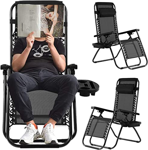 Zero Gravity Recliner Chair Patio Lounge Chairs,Anti Gravity Locking Chaise Recliner Support 220lbs,Folding Recliner Chair