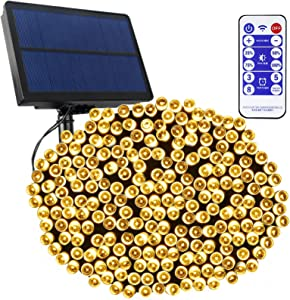 Tcamp Outdoor Garden Solar String Lights Decor, 164Ft 500 LED Solar Christmas Lights Outdoor, 8 Modes Solar Powered Fairy Lights with Remote Timer Function for Christmas Tree Patio Yard (Warm White)