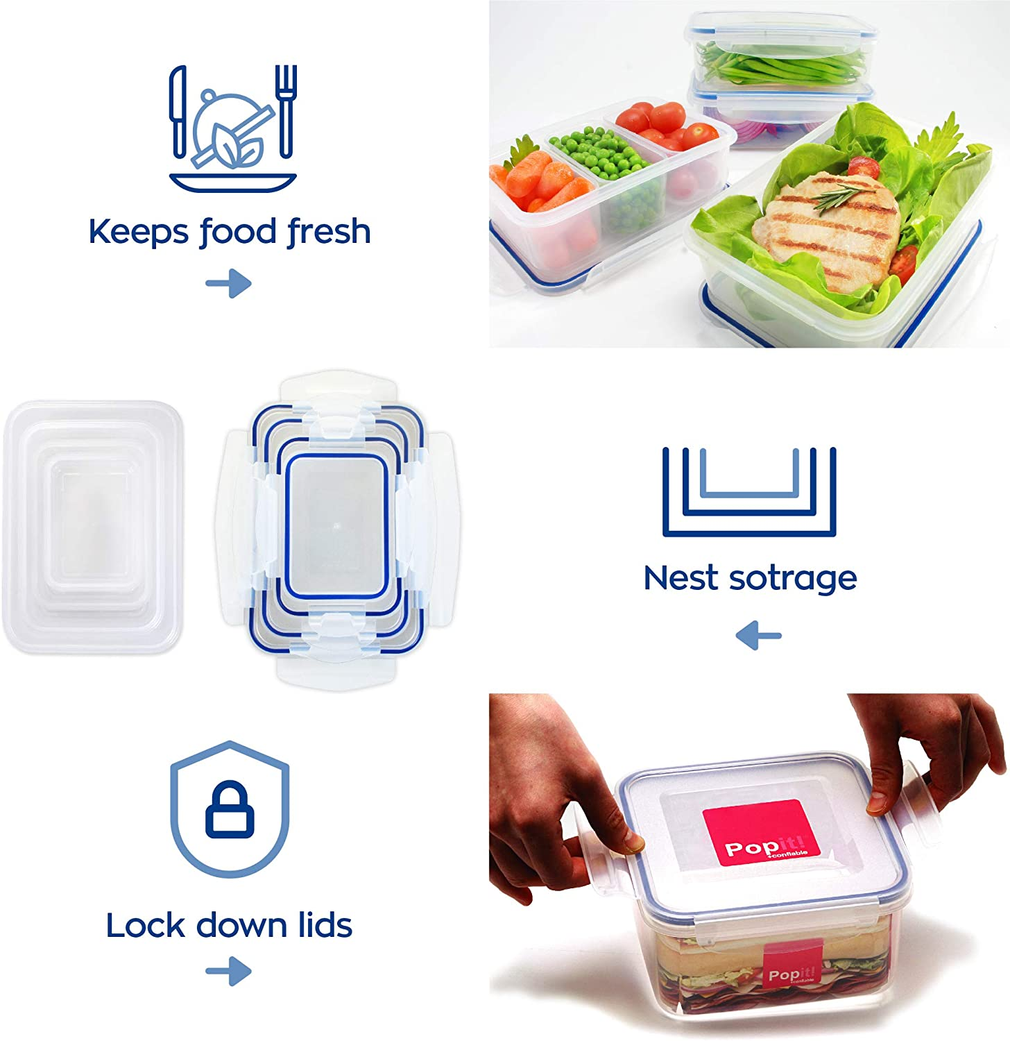Popit! Rectangular Food Container Meal Prep Set 4 x 4.6 Cup Containers + 3 divisions included, BPA Free, FDA Approved, 100% Leak Proof, Microwave, Freezer, Dishwasher Safe, by Popit!