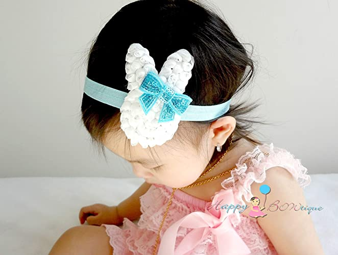Amazon.com  Baby Girl Aqua Bunny Headband 007aecbc5bc