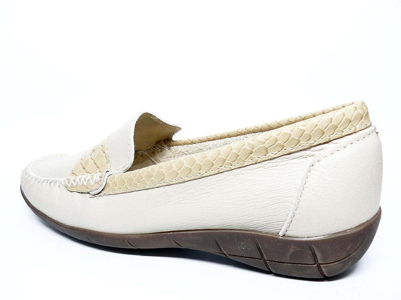 Zapato mujer casual mocasin marca DELTELL en piel color Beige adorno ...