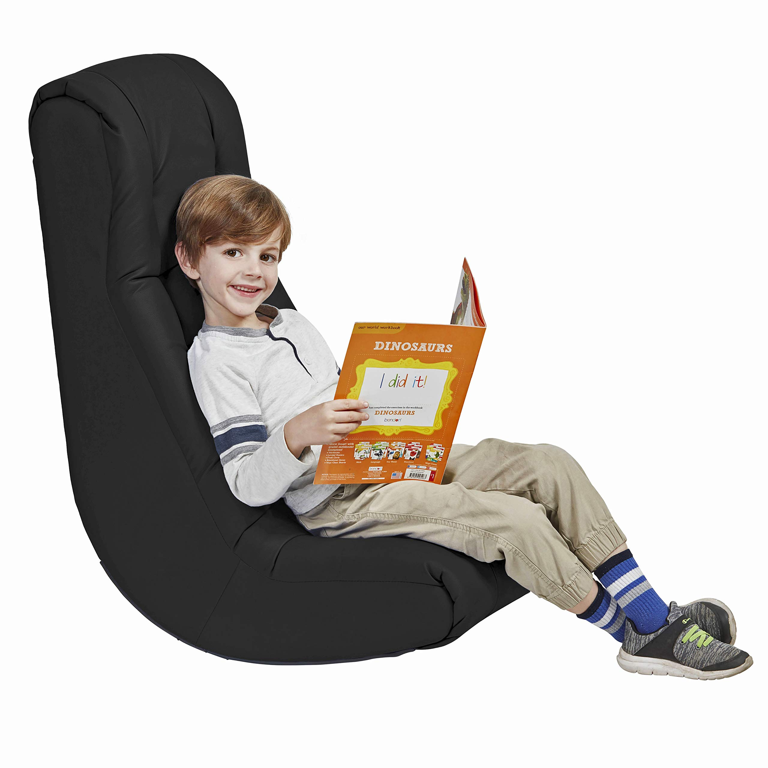 Soft Floor Rocker - Cushioned Ground Chair for Kids Teens and Adults - Great for Reading, Gaming, Meditating, TV - Black by Factory Direct Partners