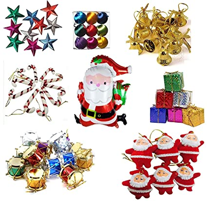 Krisah� 99 pcs Christmas Mini Ornaments Decoration Set (Satin Balls, Bells, Stars, Santa Claus Hanging, Candy Canes, Gifts, Drums & Santa Foil Balloon)