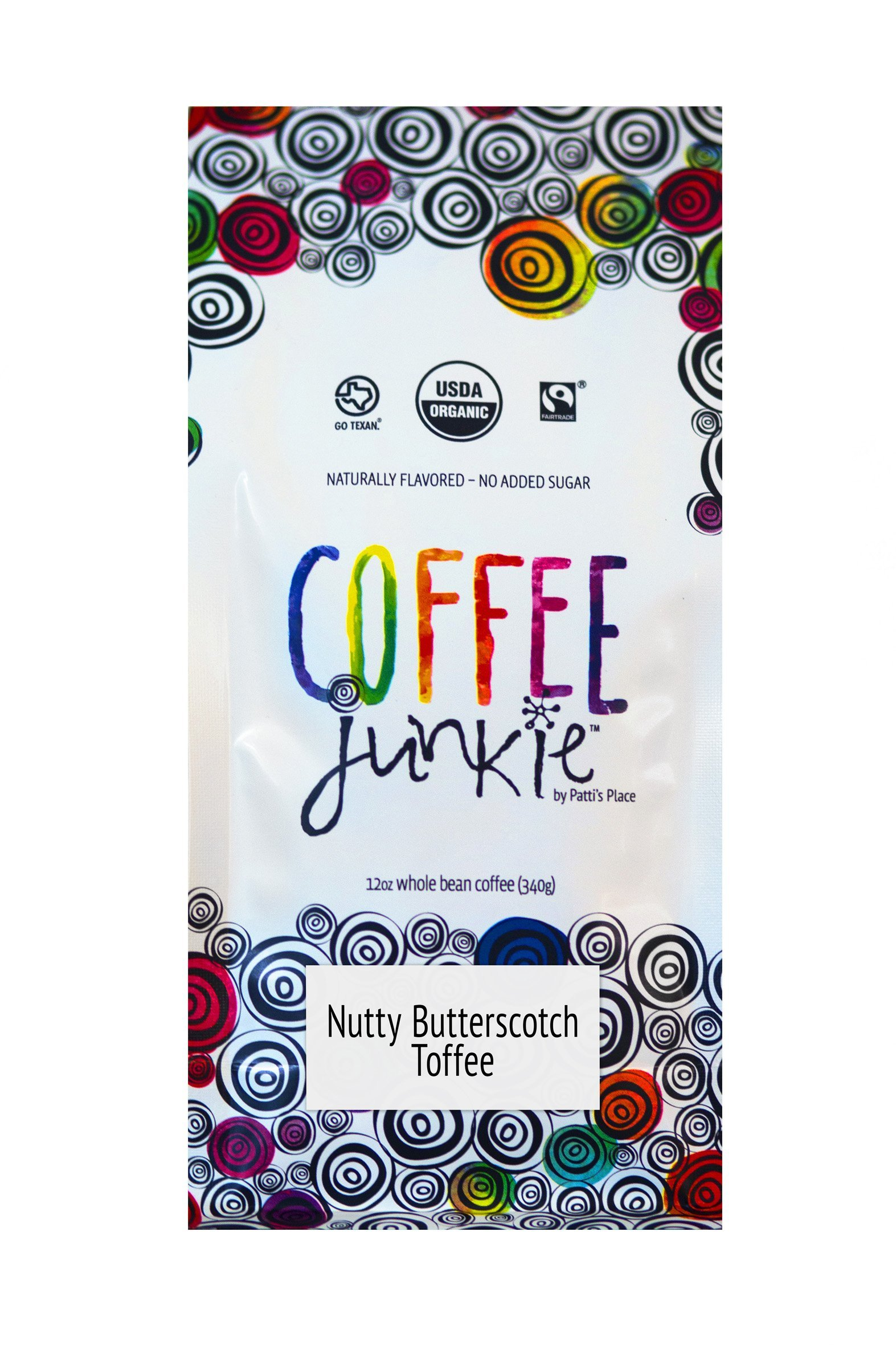 Coffee Junkie Nutty Butterscotch Toffee Naturally Flavored Coffee Beans - 12 oz