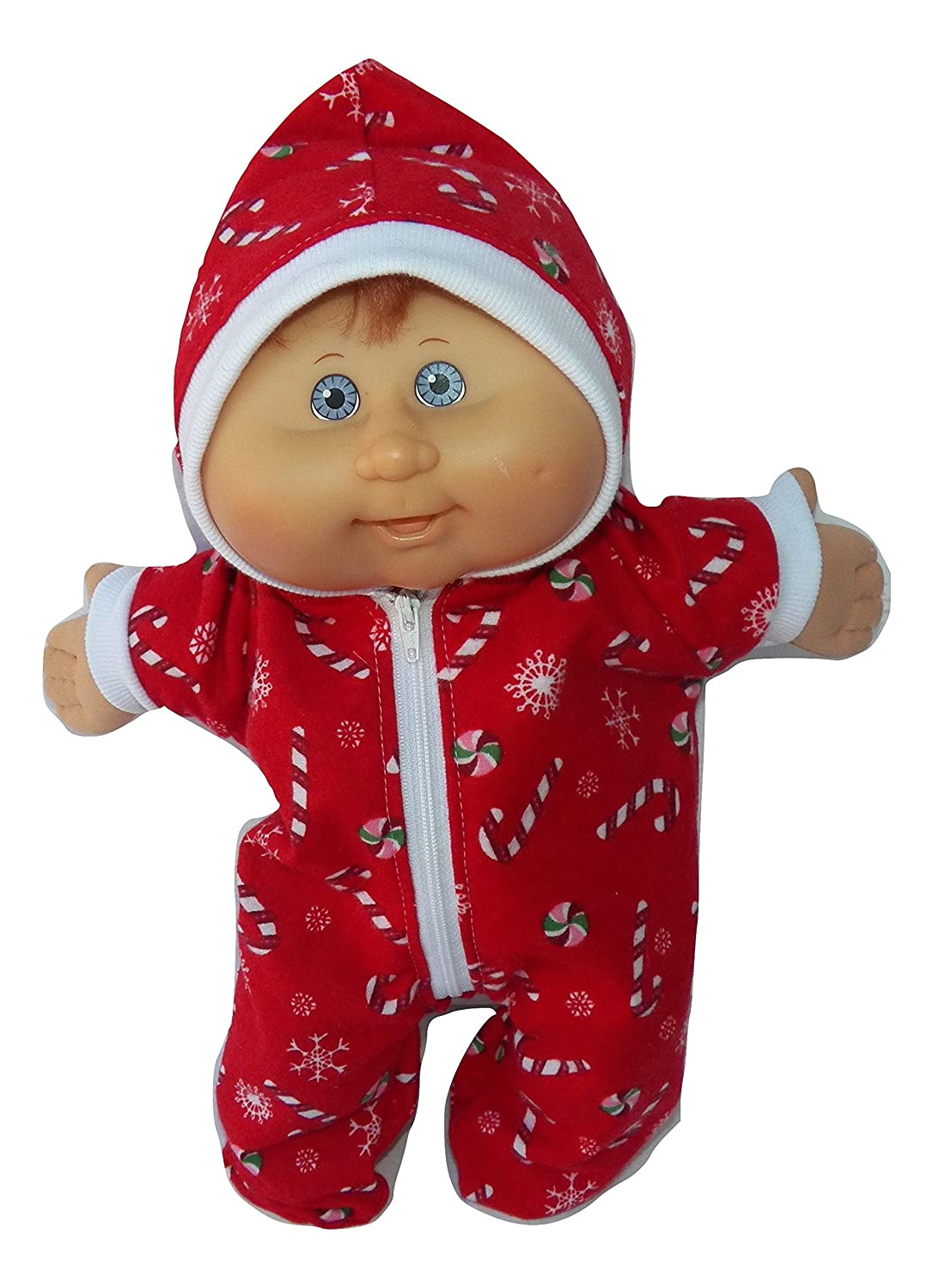 Cabbage Patch Doll Clothes Fits 14 Inch Doll or Preemie Red Candy Cane Print Pajamas Hooded Romper No Doll