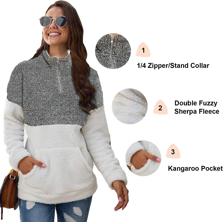 Basic Model Fuzzy Sweatshirt for Women Zipper Sherpa Pullover Sweater Patchwork Outwear with Pockets