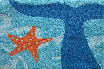 Whale Of A Tail And Starfish Acrylic Accent Area Rug 21 X 33 Jellybean