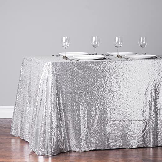 TRLYC Sequin Tablecloth Rectangular Silver Sequin Table Cloth for Wedding-60x105