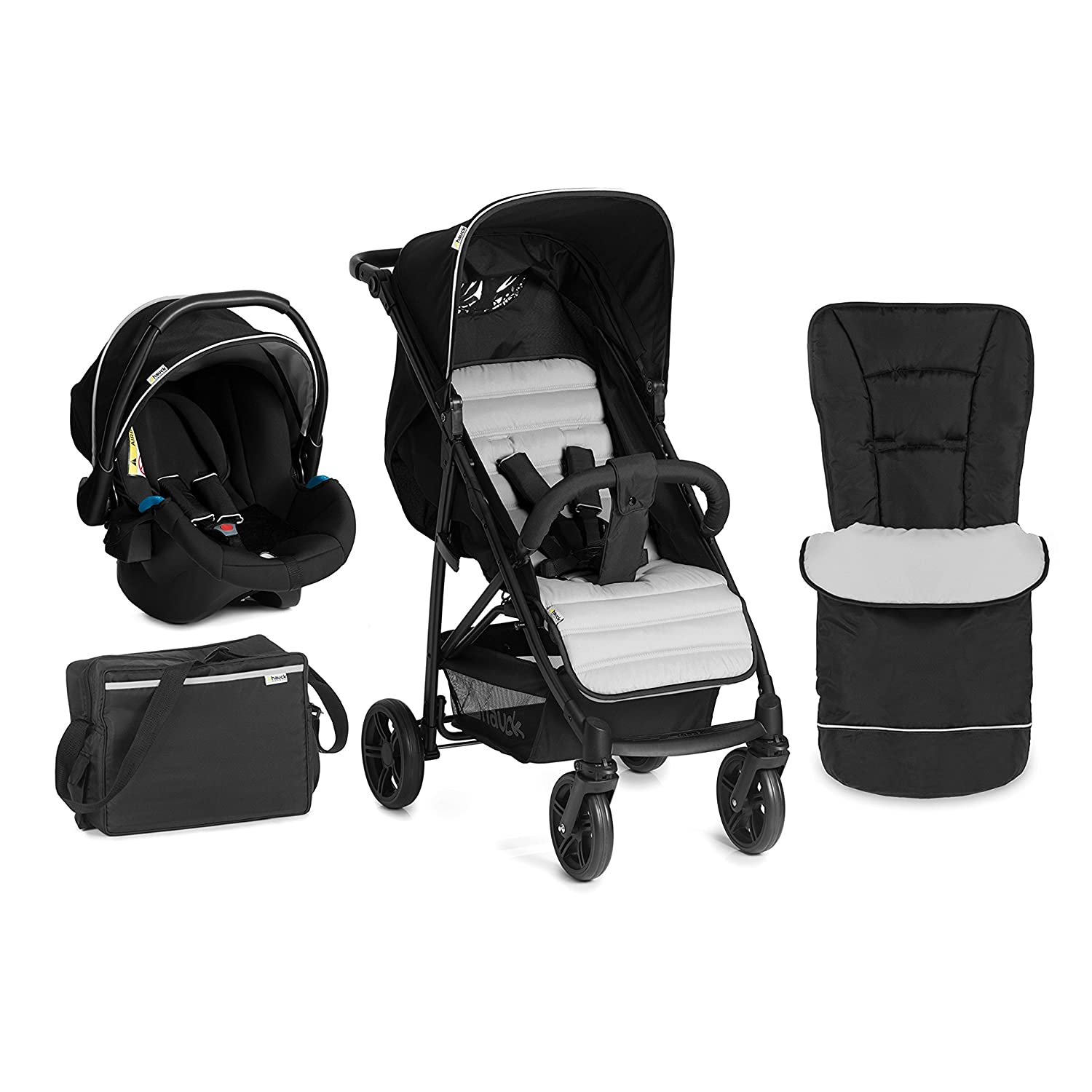 Hauck Rapid 4 Plus Shop-n-Drive Set Quick Fold Travel System, from Birth to 22 Kg, Black/Beige (Group 0+ Car Seat, Compatible with Optional ISOFix Base, Foot Muff, Changing Bag and Raincover) 149591