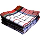 Qualcosa Kitchen - Cleaning Cloth Multipurpose Kitchen Towels Cotton Dish Napkin - Machine Washable - Multi Coloured Checked Dish Towels, Tea Towels, Table Cloth 18x18 Inch - Pack of 6