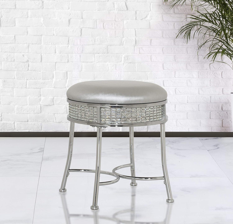 Chrome Hillsdale Furniture Glam Backless Diamond Band Vanity Stool