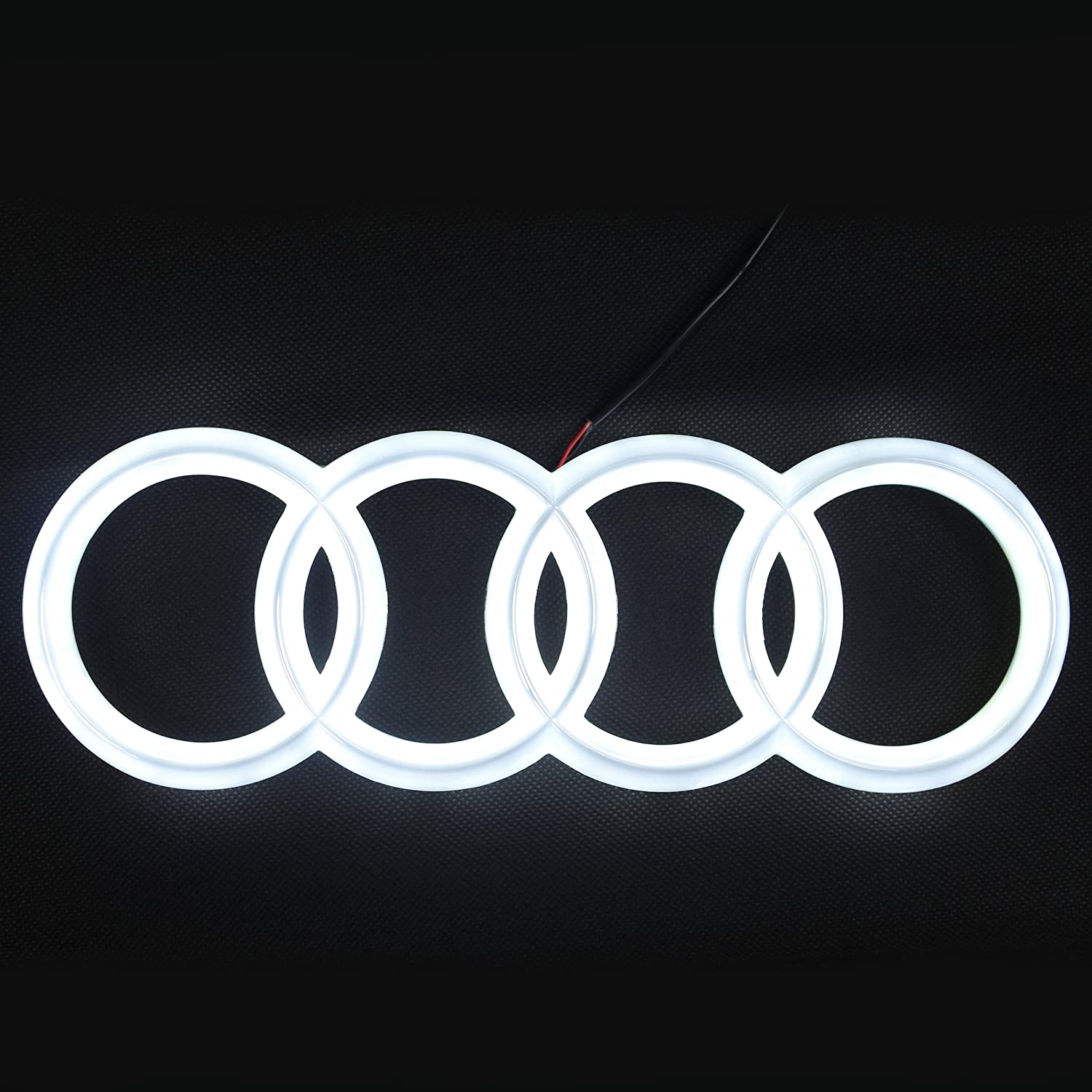 Glowing Rings Front Car Grill Badge Audi LED Emblem Drive Brighter /… 285 mm Lights DRL Daytime Running Lights White 2018 Upgraded Auto Illuminated Logo JetStyle