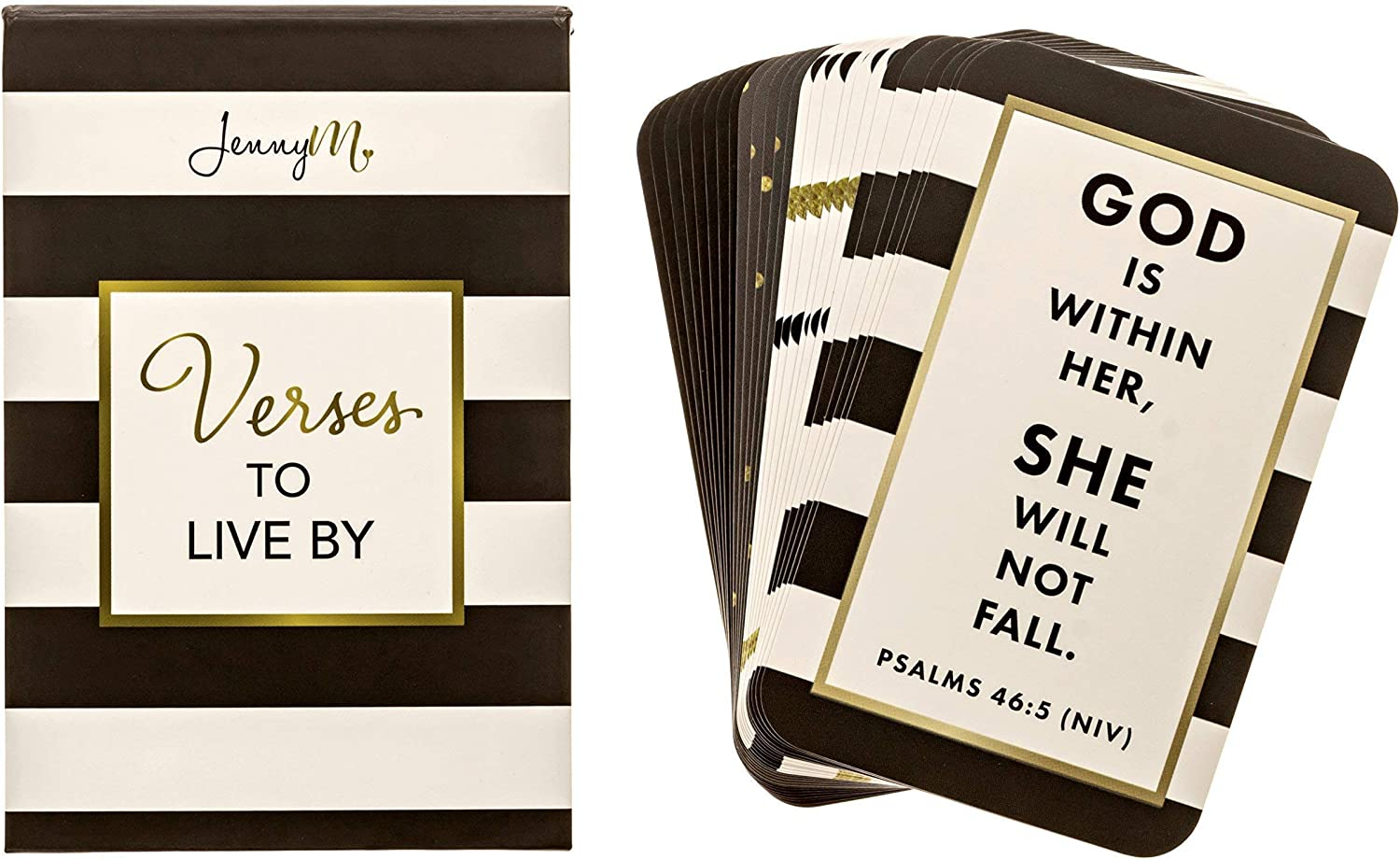 Jennym | Verses To Live By–25Bible Verses Inspirational Prayer Cards, Memory Verse Of The Day Scripture Cards Con Scatola Da Regalo, Scatola Inspirational Blessing Cards, Christian Gift