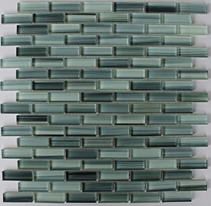 Sample   Surfz Up Aqua Blue Grey Hand Painted Glass Mosaic Subway Tiles For  Bathroom Walls