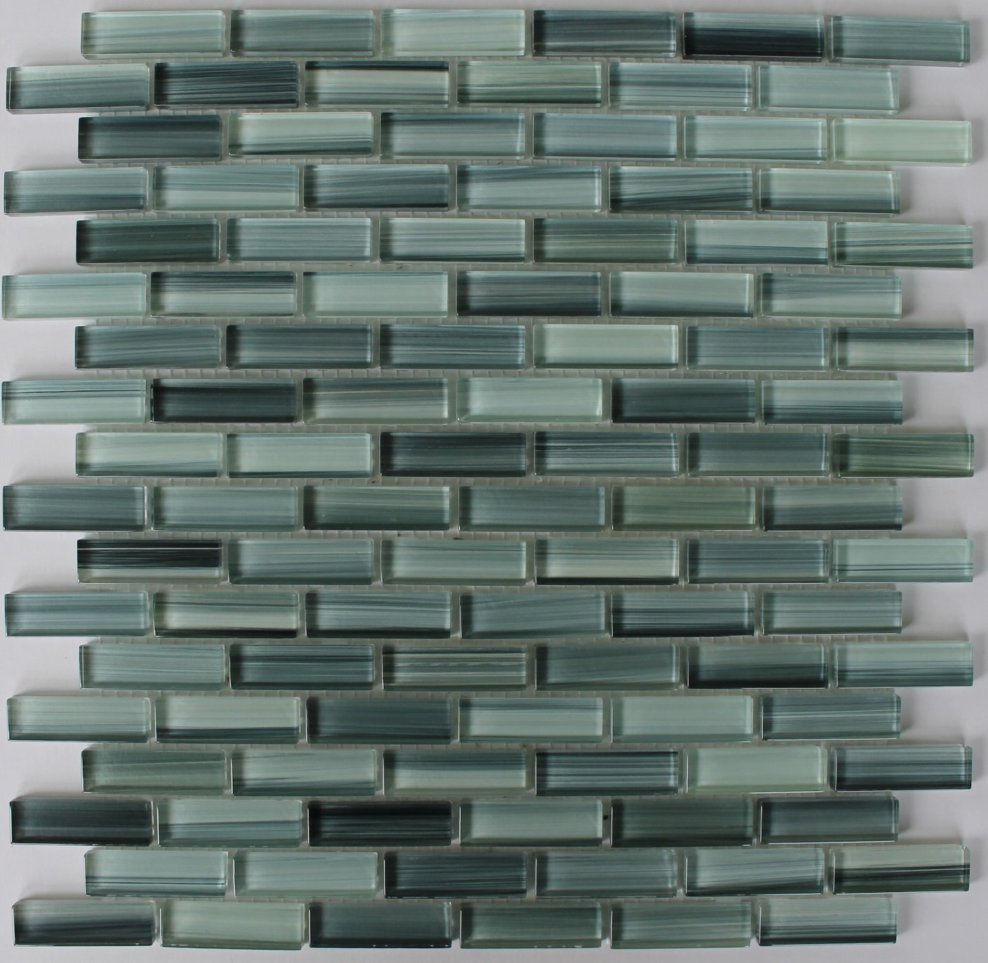 10 Sq Ft - Surfz Up Aqua Blue Grey Hand Painted Glass Mosaic Subway Tiles for Bathroom Walls or Kitchen Backsplash