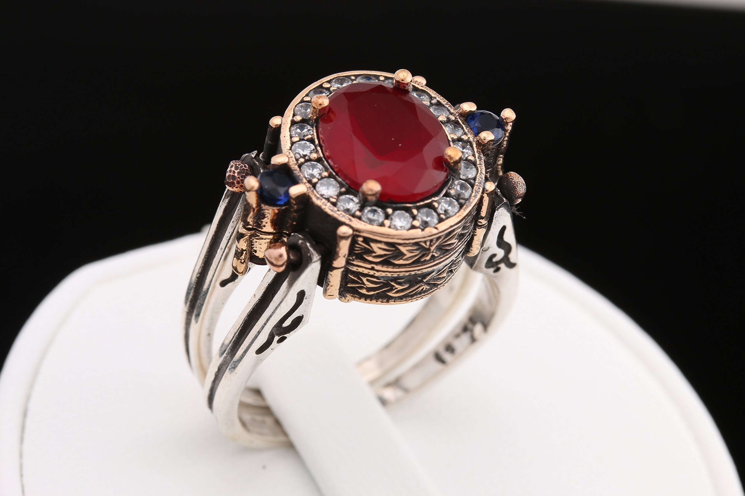 Turkish Handmade Reversible Oval Shape Sapphire Ruby Round Cut White Topaz 925 Sterling Silver Ring Size All