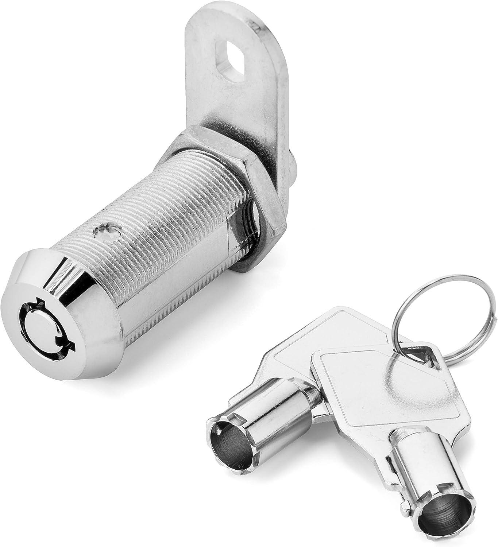 """Westway Security - Tubular Cam Lock with 1-1/2"""" Cylinder and Chrome Finish, Keyed Alike"""