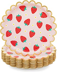 Pink Paper Plates with Gold Foil for Strawberry Birthday Party (9 In, 48 Pack)