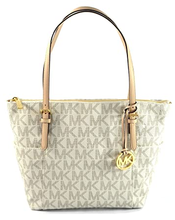cfca95adfd4f81 Buy MICHAEL Michael Kors East West TZ Tote MK Signature PVC Online at Low  Prices in India - Amazon.in