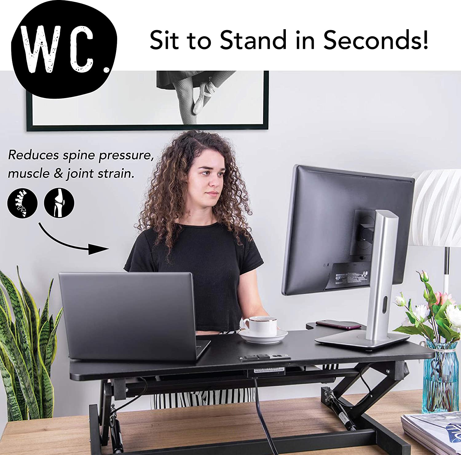 Working City Smart-Lift 36 Smart Two-Tier Height Adjustable Standing Desk Converter with 2 Outlet, 2 USB Port, 9.8 ft Cord Sit to Stand Up Instantly ETL Certified – Black