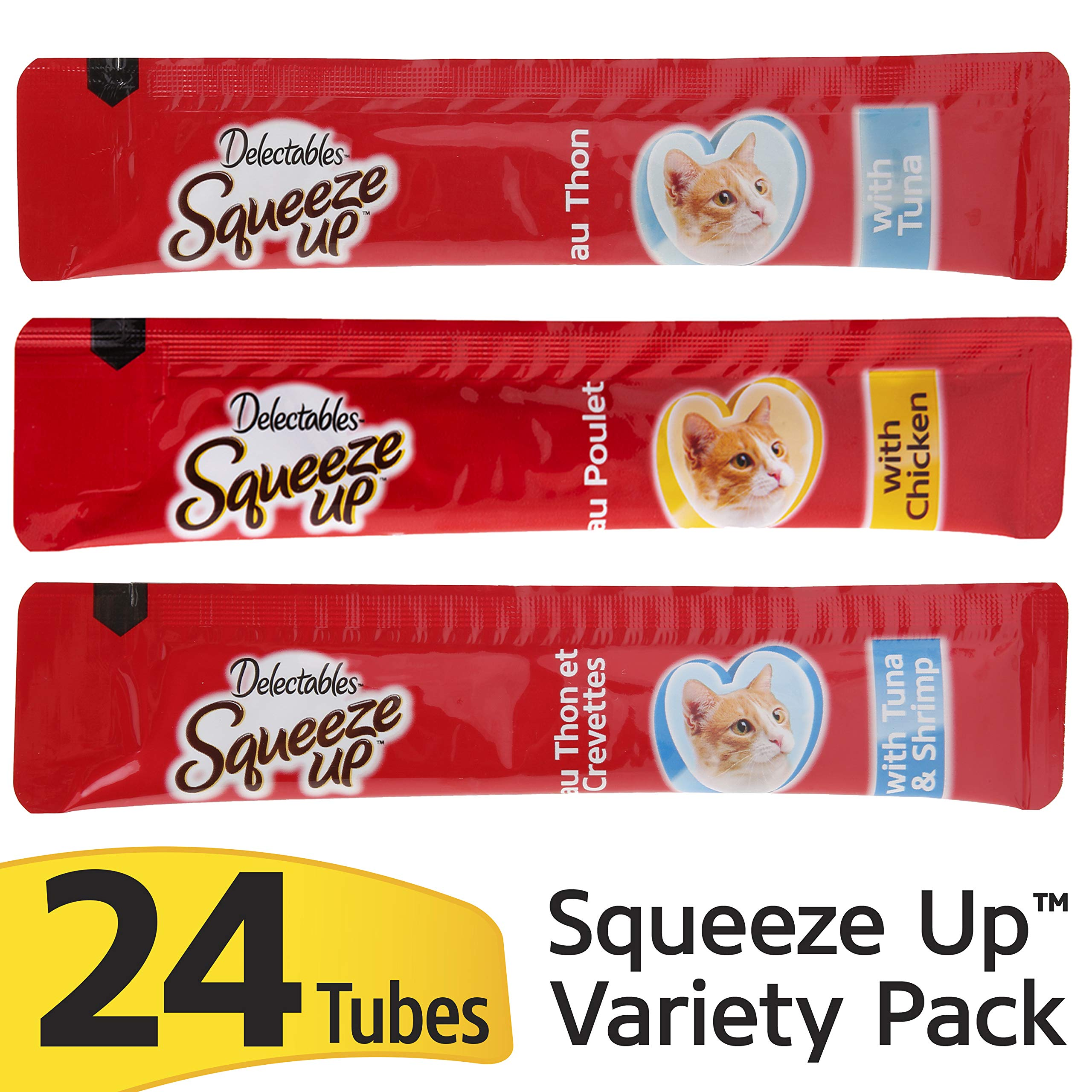 Delectables Squeeze Up Interactive Wet Cat Treats - Variety Pack - 24Count by Hartz