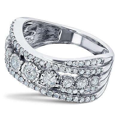 Crossed Wedding Bands.Amazon Com Diamond Illusion Set Anniversary Ring Crossed Rows 3 4ct