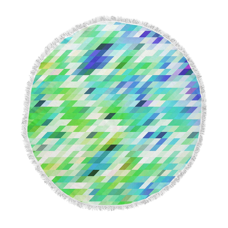 Kess InHouse Dawid ROC Colorful Summer Geometric Green Abstract Round Beach Towel Blanket