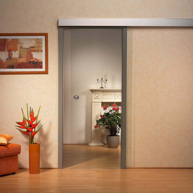 Para puerta corredera de cristal ST 722 - 775 x 2050 x 8 mm DIN derecha/izquierda, 8 mm vidrio de seguridad de cristal, pomo y sistema de panel: Amazon.es: Bricolaje y herramientas