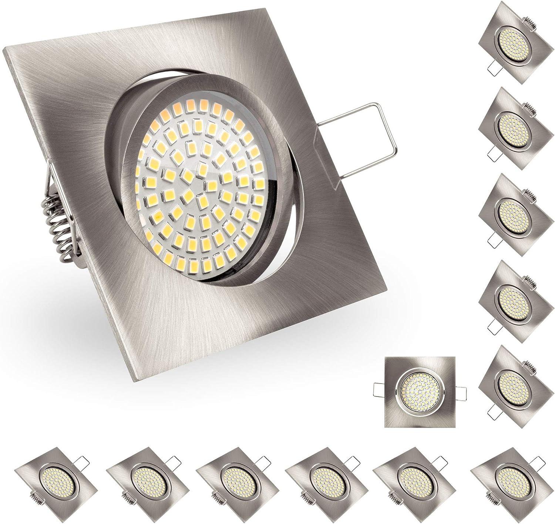 Nickel geb/ürstet LED Einbaustrahler 12W Ultra flach LED Einbauleuchten Dimmbar 90mm Ausschnitt 230V 950lm IP44 mit CCT Einstellbar 3000K Warmwei/ß//4000K Neutralwei/ß//5700K Kaltweiss in Einem Dimmbar