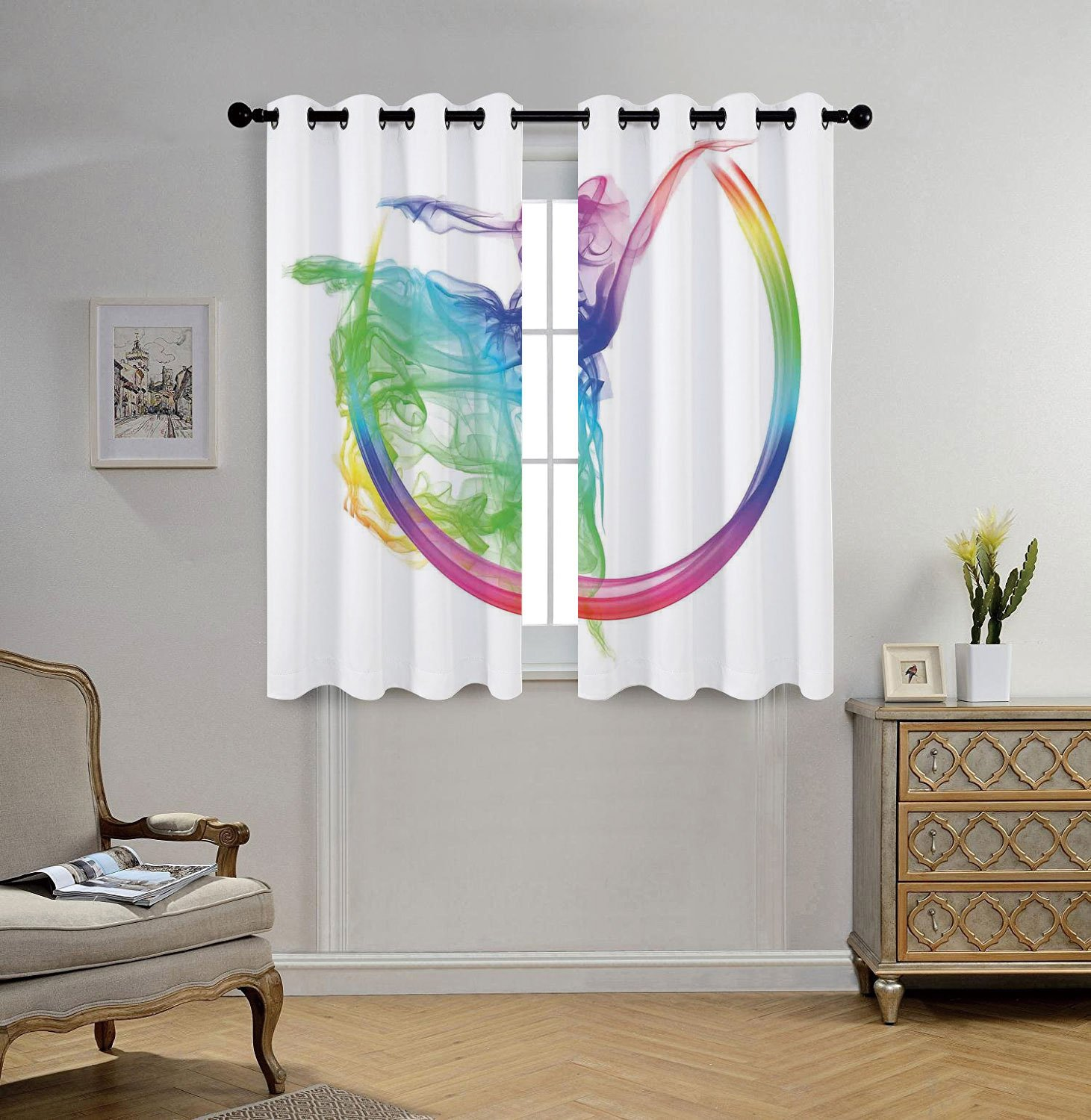 iPrint Stylish Window Curtains,Abstract Home Decor,Smoke Dance Shape Silhouette of Dancer Ballerina Rainbow Colors Fantasy Decorative,2 Panel Set Window Drapes,for Living Room Bedroom Kitchen Cafe