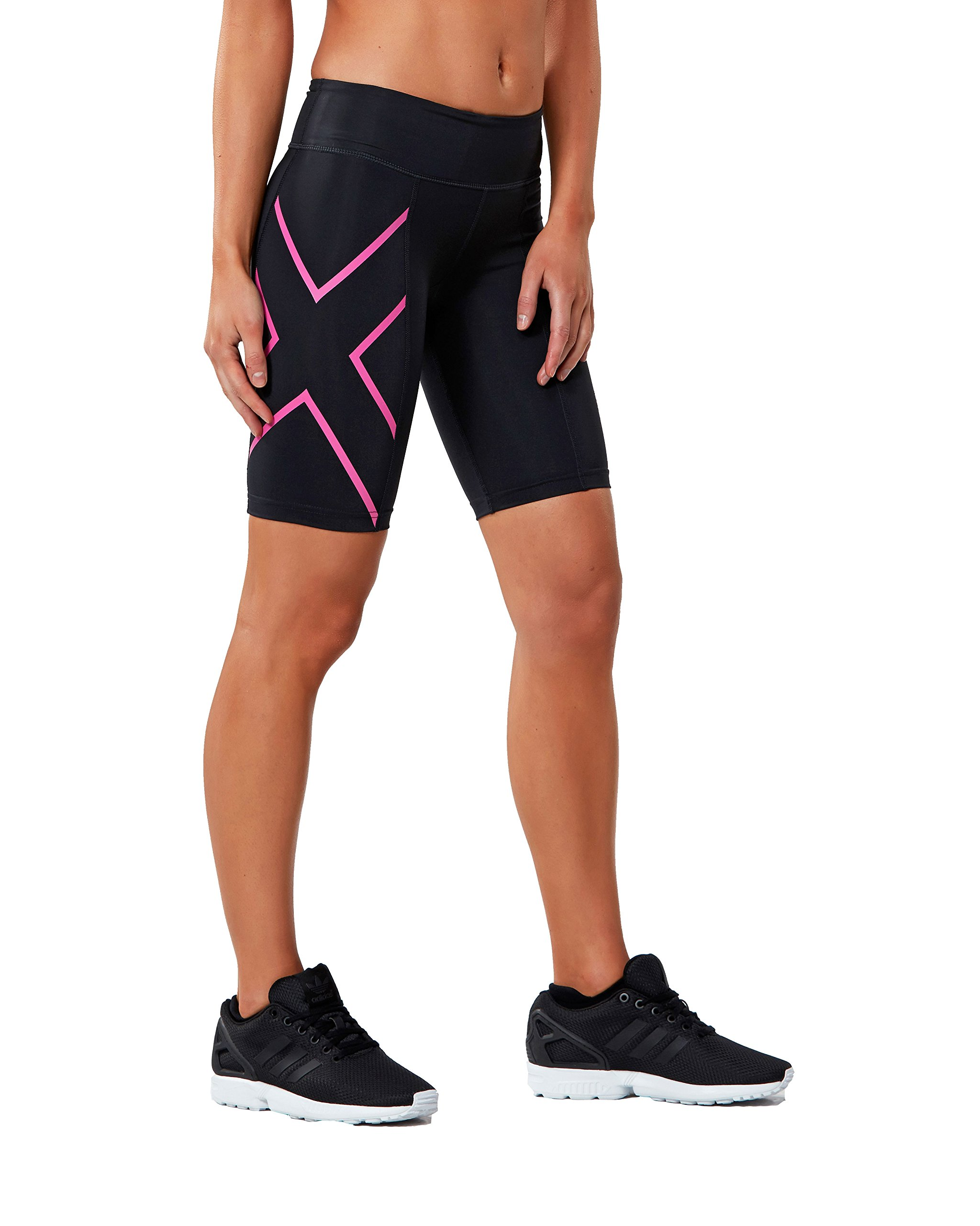 2xu Womens Mid-rise Athletic Compression Shorts, Black/cerise Pink, Small
