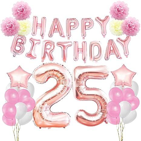Kungyo Decoraciones De Feliz Cumpleanos 25 Oro Rosa Happy Birthday
