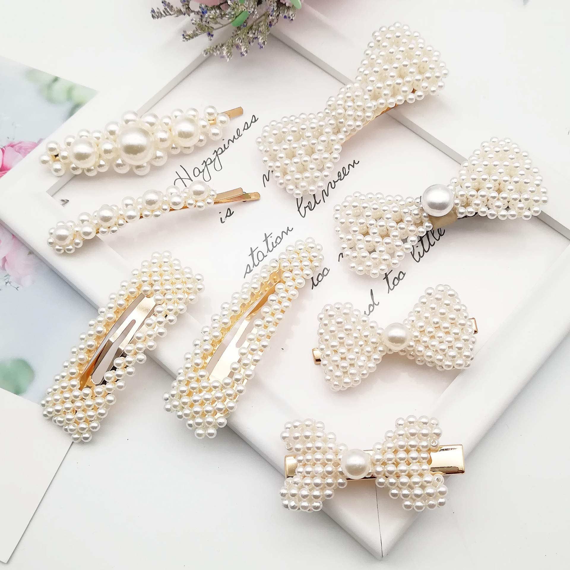 IRUMENG 8Pcs Sweet Artificial Pearl Hair Clips Barrettes Wedding Decorative Bridal Bobby Butterfly Bow Hair Pins for Women Girls Ladies by IRUMENG