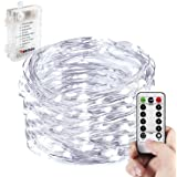 CLEARANCE SALE !! Battery Operated String Lights,WERTIOO Fairy Lighting with Remote Control,33FT 100LEDs,8 modes,Waterproof Battery Powered LED Christmas Lights Indoor/Outdoor for Bedroom (White)