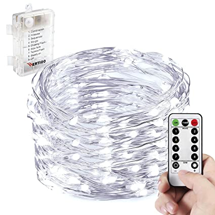 wertioo battery operated string lights fairy lighting with remote control33ft 100leds8 modes