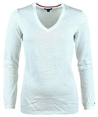 Tommy Hilfiger Womens Polka Dot V-Neck Cotton Logo Sweater - XXL - Cream cfffc030d4