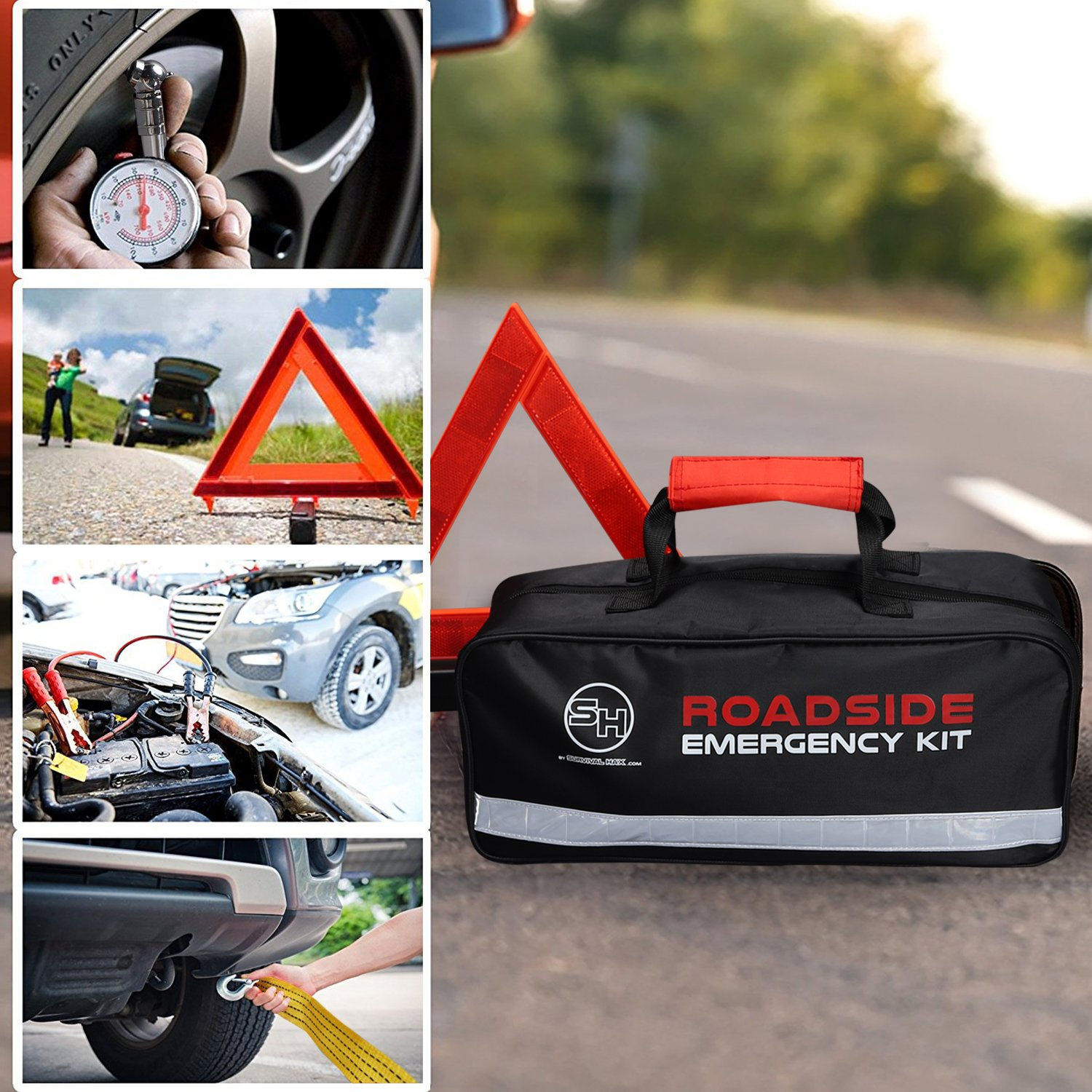 Roadside Emergency Kit with Jumper Cables and First Aid Supplies