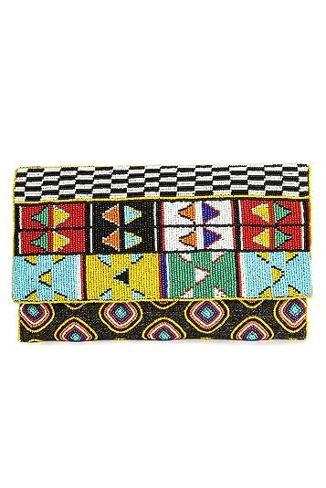 85aa38704 Amazon.com: MyBatua Kennedy Multi Colour Beaded Clutch Bag Ladies ...