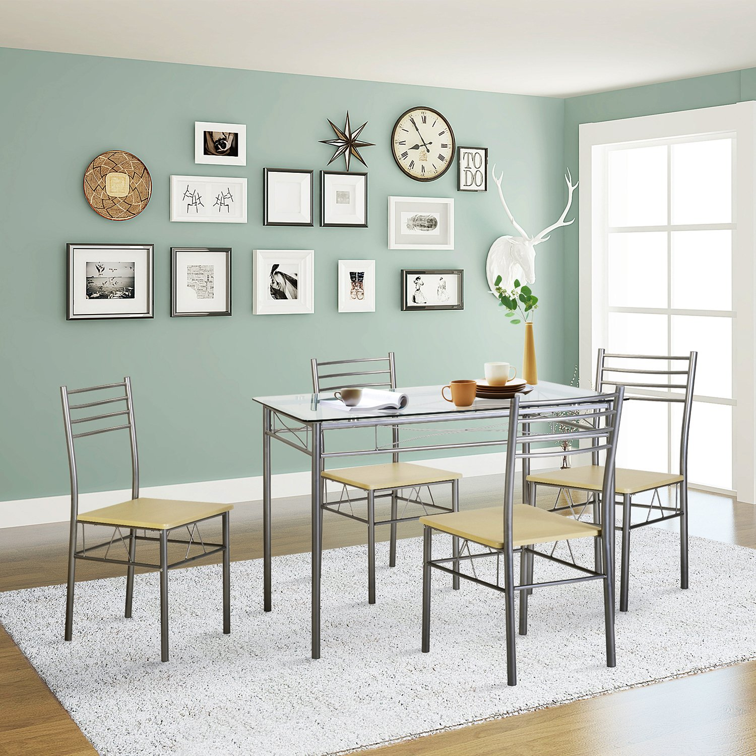 Amazon.com - VECELO Dining Table with 4 Chairs - Silver - Table ...