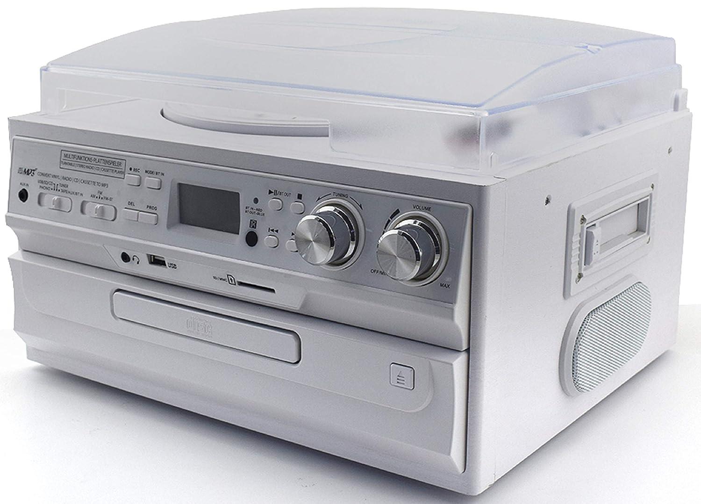 Schwarz Retro Musikanlage Nostalgie Design Stereoanlanlage Kompaktanlage Musik Center Aufnahmefunktion Plattenspieler CD//MP3 USB//SD Radio FM//AM LCD-Display Kassettenspieler