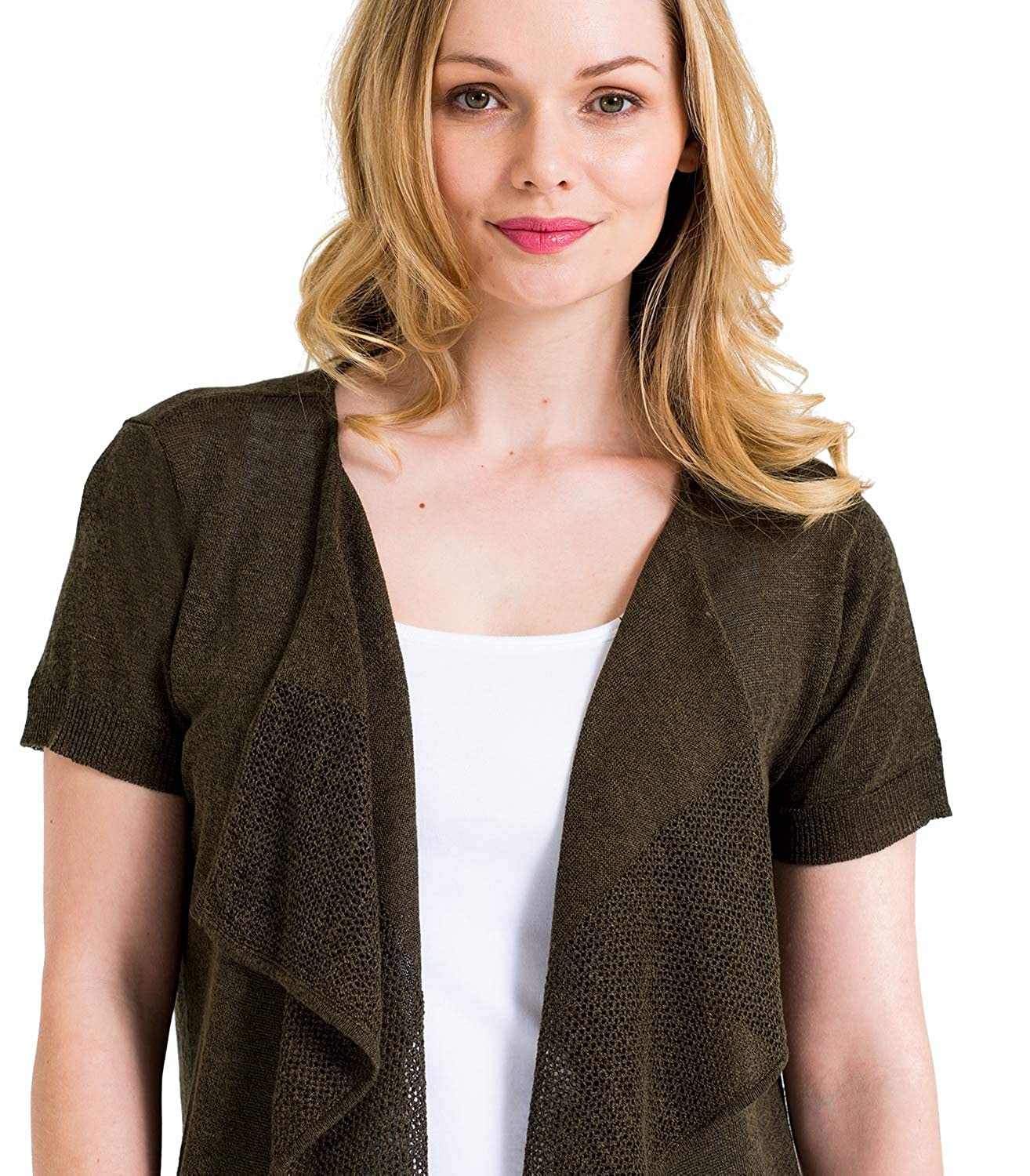 e99b76fe3d Woolovers Womens Lightweight Linen and Viscose Mesh Detail Short Sleeve  Waterfall Knitted Cardigan  Amazon.co.uk  Clothing