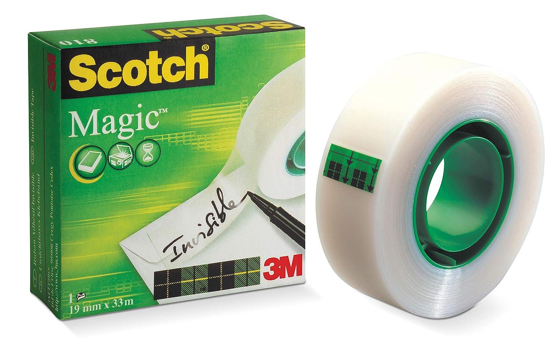 3M Scotch Magic 810 19mm x 33mm - Cinta adhesiva (Transparente), 1 unidad: Amazon.es: Oficina y papelería