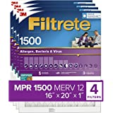 Filtrete 16x20x1, AC Furnace Air Filter, MPR 1500, Healthy Living Ultra Allergen, 4-Pack (exact dimensions 15.69 x 19.69…
