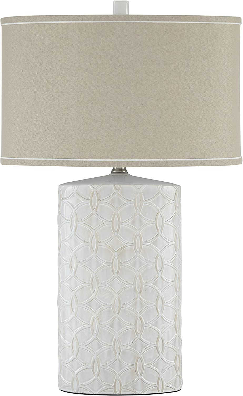 Signature Design by Ashley - Shelvia Textured Ceramic Table Lamp - Oval Drum Shade - Antique White