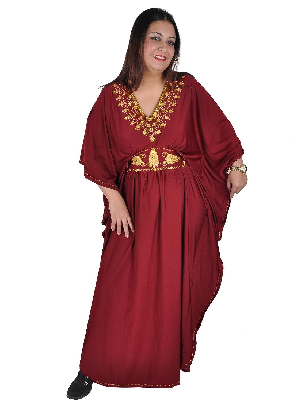 Damen Kaftan Kleid Abaya im Oriental Style, weinrot (bordeux) KA00513