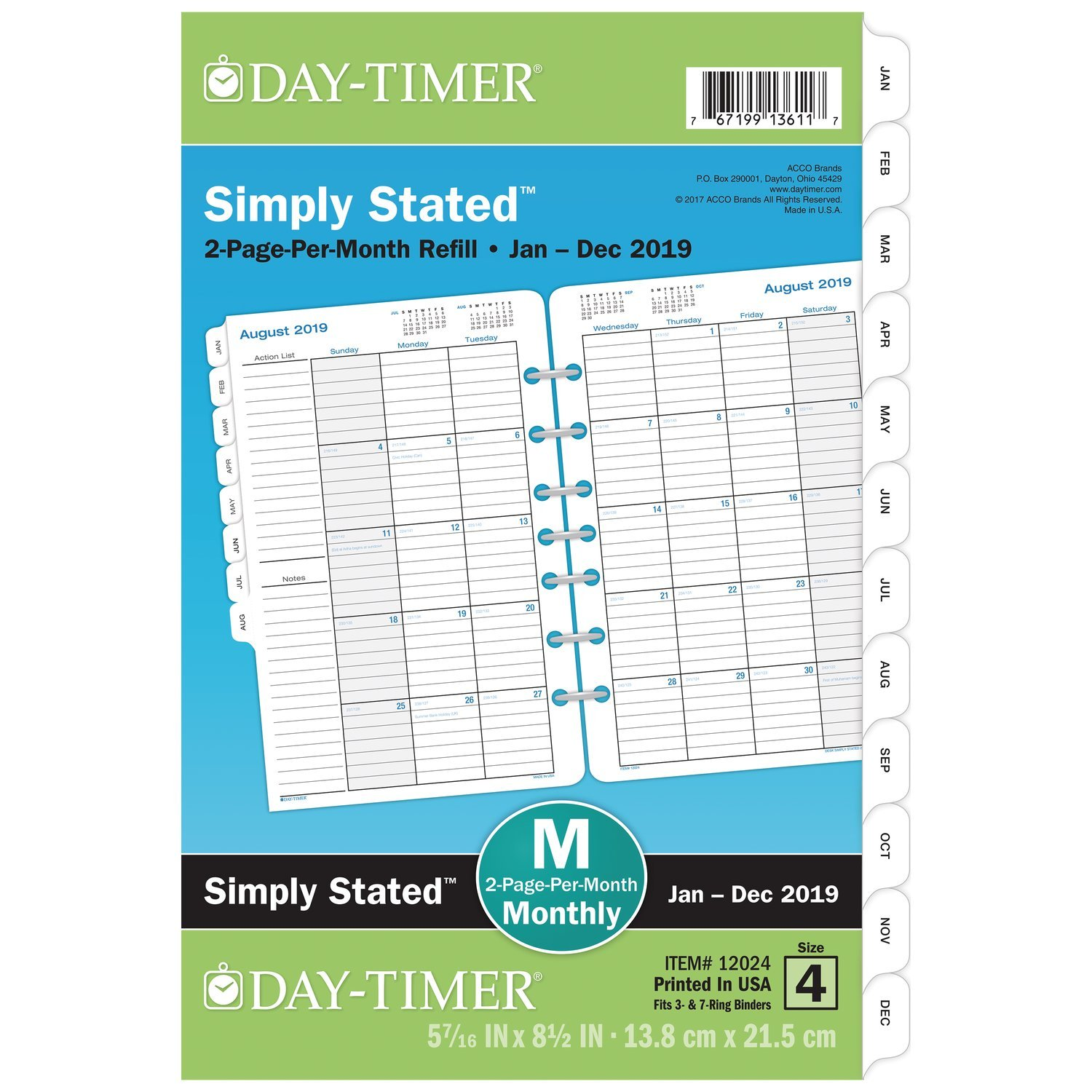 "Day-Timer 2019 Planner Refill, 5-1/2"" x 8-1/2'', Desk Size 4, Two Pages Per Month, Loose Leaf, Classic (12024)"
