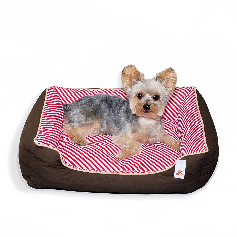 Stinky G cama del perro rayas oblicuas 100% algodón (medio 65 x 55 cm, rojo): Amazon.es: Juguetes y juegos