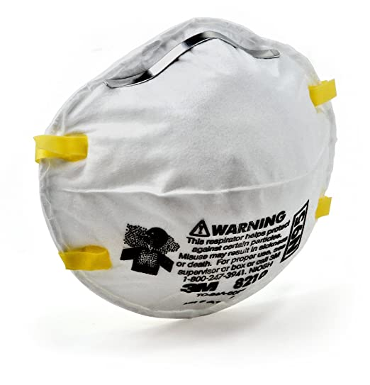 3M Particulate Respirator 8210, N95Mask, NIOSH Approved, Pack of 1 Respirators at amazon